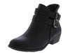 Chase5 Black Dual Buckle Short Heel Ankle Boot - Wholesale Fashion Shoes
