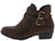 Chase5 Brown Dual Buckle Short Heel Ankle Boot