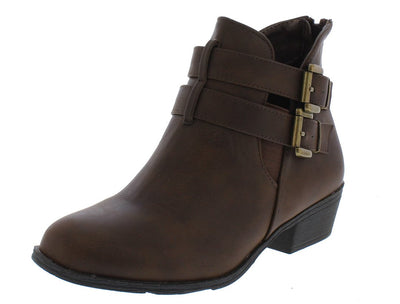 Chase5 Brown Dual Buckle Short Heel Ankle Boot - Wholesale Fashion Shoes