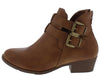 Chase5 Tan Dual Buckle Short Heel Ankle Boot - Wholesale Fashion Shoes