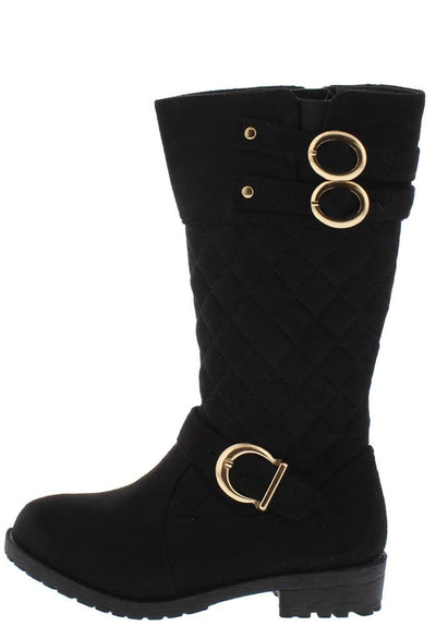 Cherry9k Black Quilted Gold Buckle Lug Sole Kids Boot - Wholesale Fashion Shoes