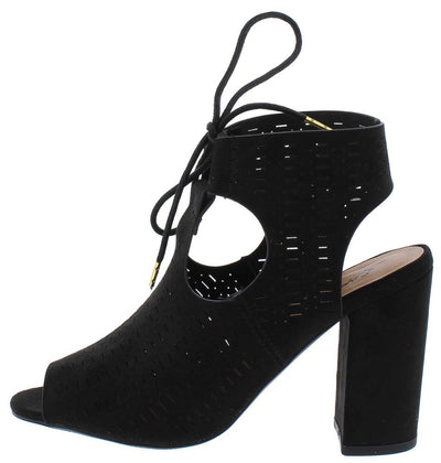 Chester03x Black Suede Pu Perforated Peep Toe Cut Out Heel - Wholesale Fashion Shoes