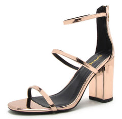 CHESTER108 ROSE GOLD METALLIC OPEN TOE CHUNKY HEEL - Wholesale Fashion Shoes