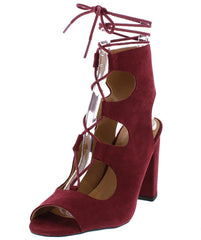 CHESTER11 BURGUNDY LACE UP V-STRAP WOMEN'S HEEL - Wholesale Fashion Shoes