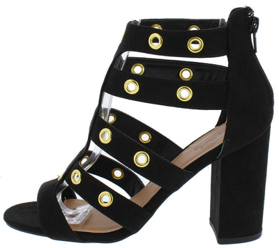 Chester19 Black Suede Gold Grommet Strappy Chunky Heel - Wholesale Fashion Shoes