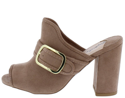 Chester93 Taupe Peep Toe Side Buckle Chunky Mule Heel - Wholesale Fashion Shoes