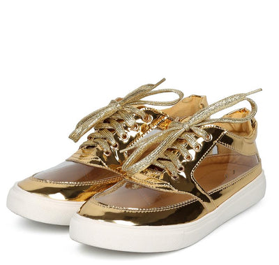 Daisy258 Gold Patent Clear Panel Lace Up Sneaker Flat - Wholesale Fashion Shoes