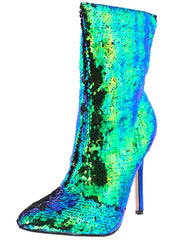 AUTUMN293 MULTI GREEN SEQUIN POINTED TOE STILETTO ANKLE BOOT - Wholesale Fashion Shoes