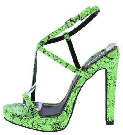 Chicago60 Green Black Strappy Open Toe Ankle Strap Heel - Wholesale Fashion Shoes