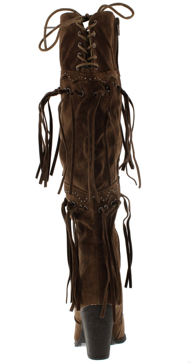 Chick4 Brown Fringe Over the Knee Boot - Wholesale Fashion Shoes