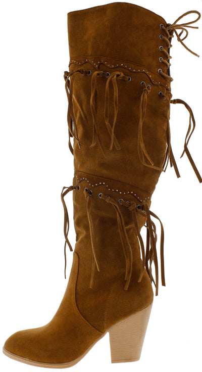 Chick4 Tan Fringe Over the Knee Boot - Wholesale Fashion Shoes