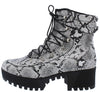 Chihuahua02 Snake Pu Lace Up Chunky Lug Sole Boot - Wholesale Fashion Shoes