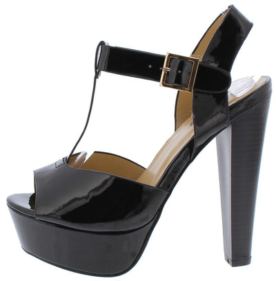 Chloe03 Black Peep Toe T Strap Slingback Platform Heel - Wholesale Fashion Shoes