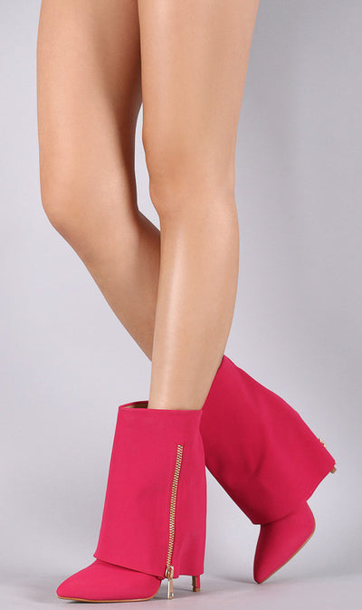 Chloe1 Fuchsia Pointed Toe Hidden Heel Fold Over Dual Zipper Boot - Wholesale Fashion Shoes