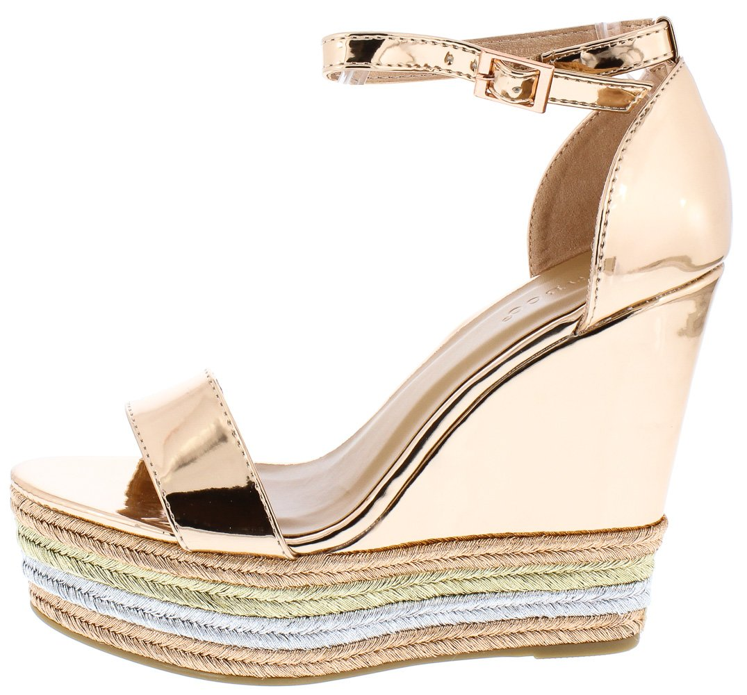 a007423f0 Choice27m Rose Gold Tri Color Platform Wedge - Wholesale Fashion Shoes
