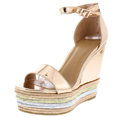 Choice27m Rose Gold Tri Color Platform Wedge - Wholesale Fashion Shoes