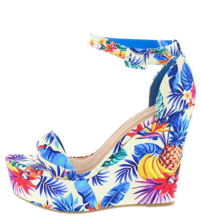 Choice98 Blue Floral Open Toe Ankle Strap Tall Wedge - Wholesale Fashion Shoes
