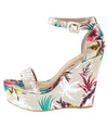 Choice98 Blush Floral Open Toe Ankle Strap Tall Wedge - Wholesale Fashion Shoes