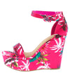Choice98 Hot Pink Floral Open Toe Ankle Strap Tall Wedge - Wholesale Fashion Shoes