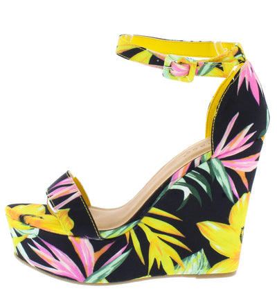Choice98 Yellow Floral Open Toe Ankle Strap Tall Wedge - Wholesale Fashion Shoes