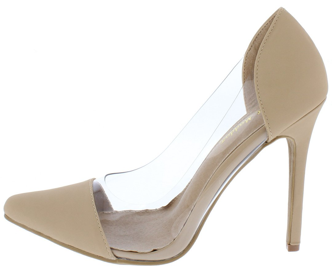 cf560b92570 Chole02 Nude Nubuck Pu Clear Lucite Pointed Toe Stiletto Heel - Wholesale  Fashion Shoes