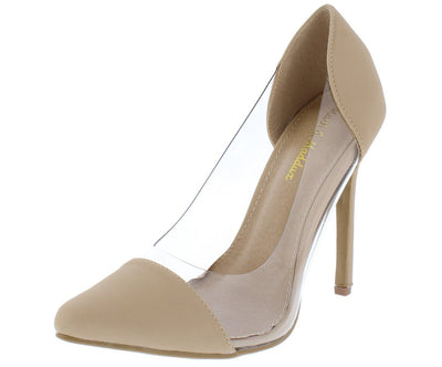 Chole02 Nude Nubuck Pu Clear Lucite Pointed Toe Stiletto Heel - Wholesale Fashion Shoes