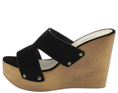 Chrissy1 Black Open Toe Cut Out Rivet Band Mule Wood Wedge - Wholesale Fashion Shoes