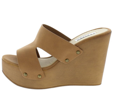 Chrissy1 Tan Open Toe Cut Out Rivet Band Mule Wood Wedge - Wholesale Fashion Shoes