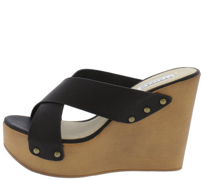 Chrissy2 Black Open Toe Rivet Cross Band Wood Wedge - Wholesale Fashion Shoes