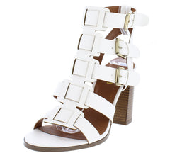 CHRISTI1 WHITE PU STRAPPY OPEN TOE STACKED HEEL - Wholesale Fashion Shoes