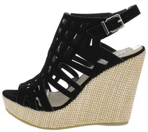 0d9f8df238f Christi2 Black Caged Open Toe Wove Platform Wedge - Wholesale Fashion Shoes