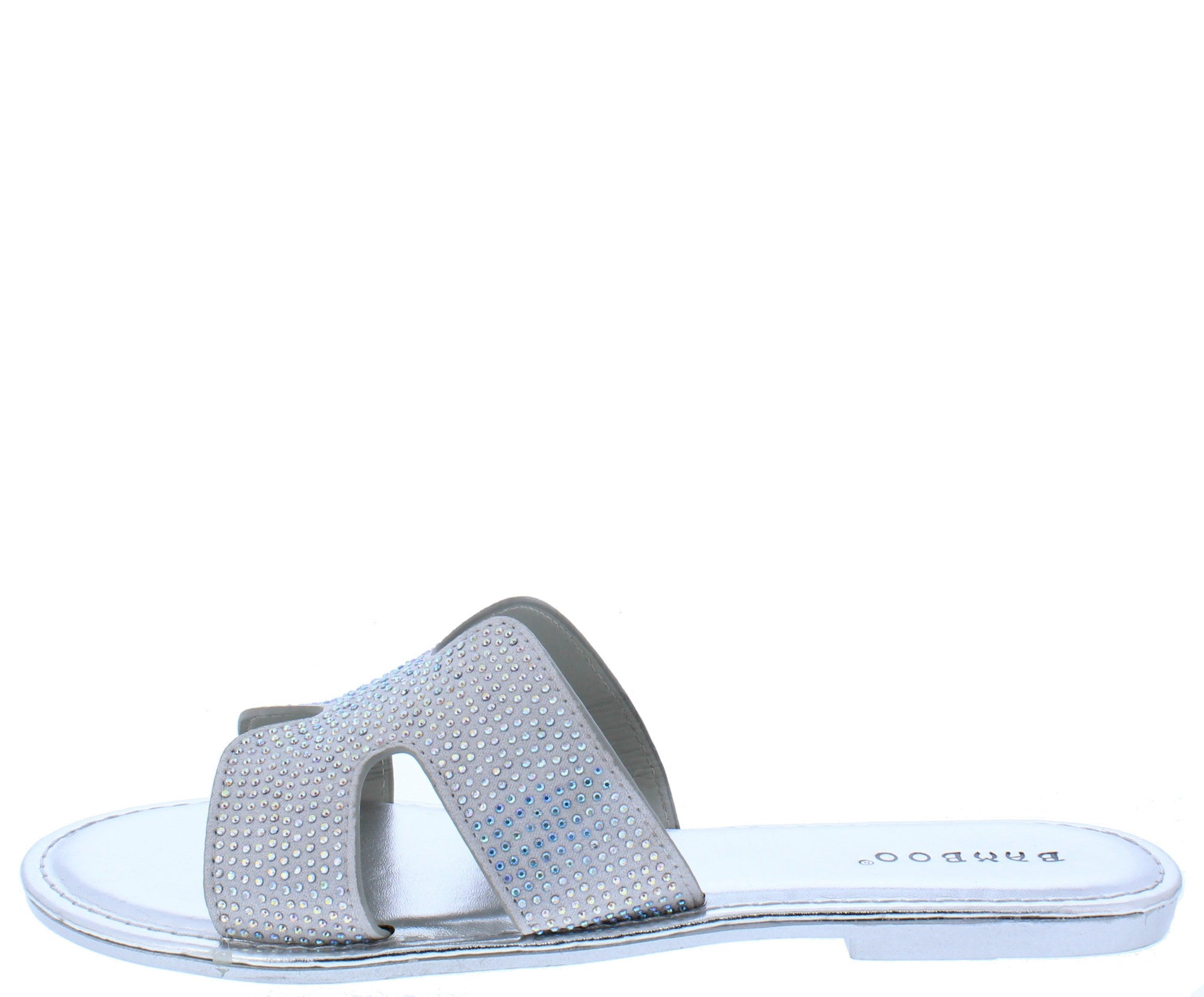 Christy06 Silver Sparkle Open Toe Cut Out Mule Slide Sandal