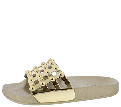 Chrome01s Gold Open Toe Stud Caged Mule Slide Sandal - Wholesale Fashion Shoes