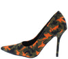Ciao1 Orange Camo Pointed Toe Stiletto Pump Heel - Wholesale Fashion Shoes