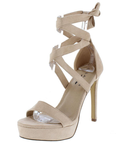Cici1 Nude Open Toe Ankle Wrap Platform Stiletto Heel - Wholesale Fashion Shoes