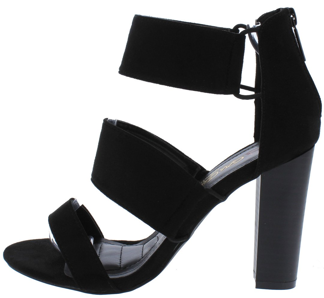 37e6af1b9 Cici5 Black Tri Band Open Toe Stacked Tapered Heels Only  10.88 - Wholesale  Fashion Shoes