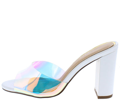 Salice176 White Lucite Peep Toe Mule Block Heel - Wholesale Fashion Shoes
