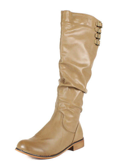 Cindy1 Taupe Buckle Riding Boot - Wholesale Fashion Shoes
