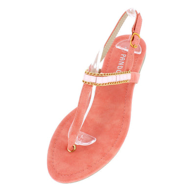 Cindy1 Coral Jeweled Metal Sling Back Thong Sandal - Wholesale Fashion Shoes