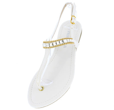 Cindy1 White Jeweled Metal Sling Back Thong Sandal - Wholesale Fashion Shoes