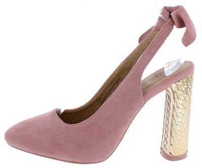 Cindy01 Pink Tie Slingback Chunky Metallic Heel - Wholesale Fashion Shoes