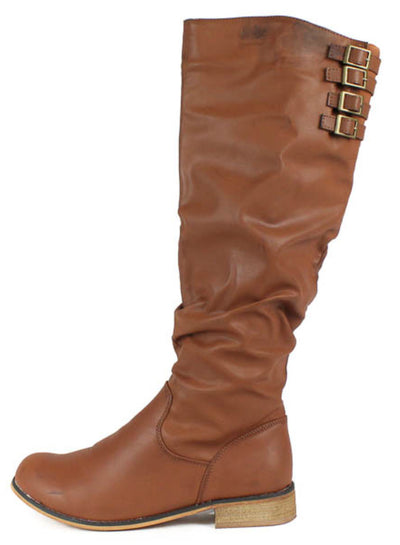 Cindy1 Tan Buckle Riding Boot - Wholesale Fashion Shoes