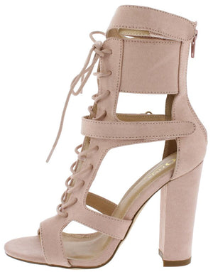 87078d8da7 Cindy Blush Suede Open Toe Cut Out Lace Up Tapered Heel - Wholesale Fashion  Shoes