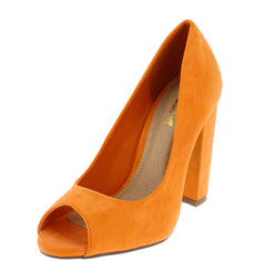 CINTHIA1 ORANGE OPEN TOE SLIP ON CHUNKY HEEL - Wholesale Fashion Shoes