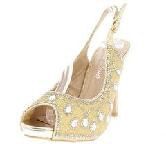 CLAIRE20 GOLD WOMEN'S HEEL - Wholesale Fashion Shoes