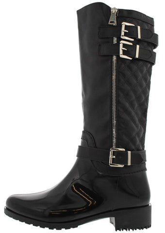 CLARA30 BLACK QUILTED RAIN BOOT - Wholesale Fashion Shoes - 1