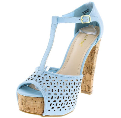 Clarice08 Powder Blue Nubuck Cut out T Strap Cork Platform Heel - Wholesale Fashion Shoes