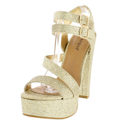 CLARICE42S GOLD GLITTER SPARKLE PLATFORM CHUNKY HEEL - Wholesale Fashion Shoes