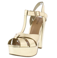 CLARICE45M GOLD METALLIC PU T-STRAP SLANTED HEEL - Wholesale Fashion Shoes