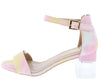 Clarisa1 Multi Pink Open Toe Ankle Strap Lucite Block Heel - Wholesale Fashion Shoes